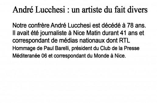 ANDRE LUCCHESI : UN ARTISTE DU FAIT DIVERS