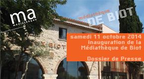INVITATION PRESSE : INAUGURATION DE LA MEDIATHEQUE COMMUNAUTAIRE DE BIOT – 11/10