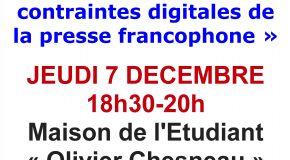 Conférence débat UPF section Côte d'Azur : Nouveaux usages et contraintes digitales de la presse francophone – 07/12/17 à 18h30