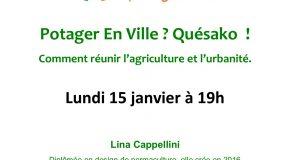 CONFÉRENCE POTAGER EN VILLE – 15/01/18 à 19h