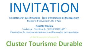 INFO MEMBRE DU CLUB // Le club de la presse est partenaire du Lancement du Cluster Tourisme Durable :